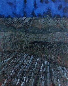 Land and sky - XXI century, Landscape, Blue and grey tones, Mixed media painting