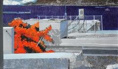 Orange color - XXI Century, Contemporary Landscape Acrylic Mixed Media Painting