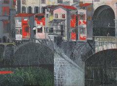 Ponte Vecchio - XXI century, Landscape, Acrylic and mixed media painting, Italy