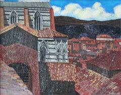 Siena - XXI century, Landscape, Acrylic and mixed media painting, Italy