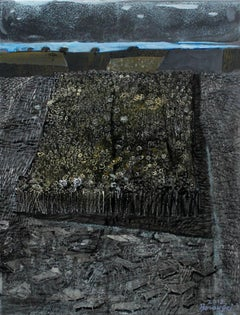 Square field - XXI century, Landscape, Acrylic and mixed media painting