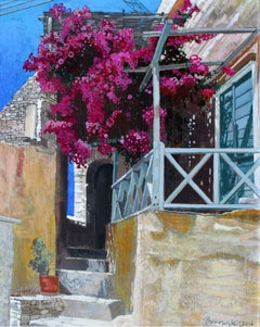 Stairs to heaven 3 - Contemporary Acrylic Painting, Vibrant colors, Architecture