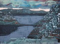 Steel sea - XXI century, Acrylic and mixed media painting, Landscape