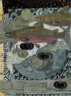 Still life with fish and black tomatoes - XXI century, Mixed media painting