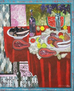 Still life with red drapery - XXI century, Acrylic painting, Colorful, Vibrant