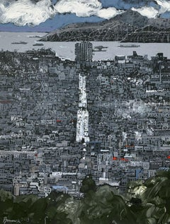 To Pireus - XXI Century Contemporary Acrylic Painting Landscape, City view