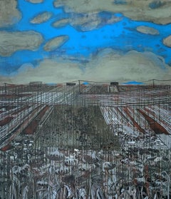 To the sky - XXI Century, Contemporary Painting, Landscape , Blue & grey