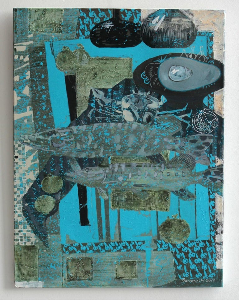 Turquoise background for a couple - XXI century, Mixed media painting Still Life - Painting by Andrzej Borowski