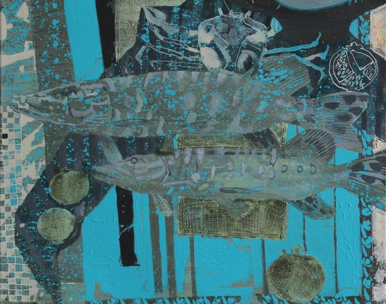 Turquoise background for a couple - XXI century, Mixed media painting Still Life - Contemporary Painting by Andrzej Borowski