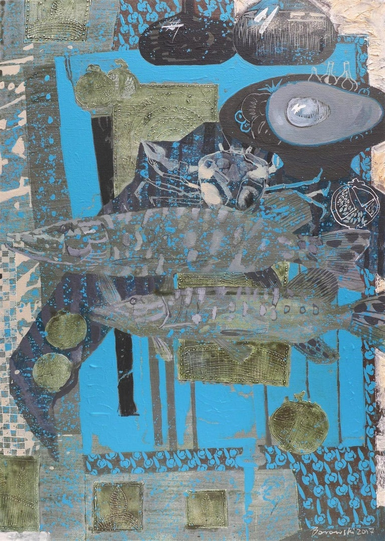 Turquoise background for a couple - XXI century, Mixed media painting Still Life - Gray Figurative Painting by Andrzej Borowski