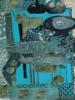 Turquoise background for a couple - XXI century, Mixed media painting Still Life