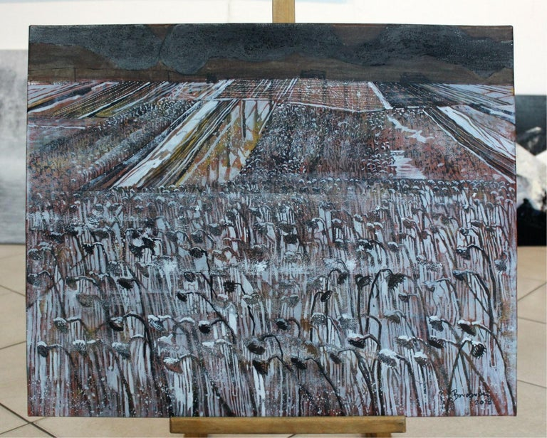 Wet snow - XXI century, Landscape, Earth and grey tones, Mixed media painting - Painting by Andrzej Borowski