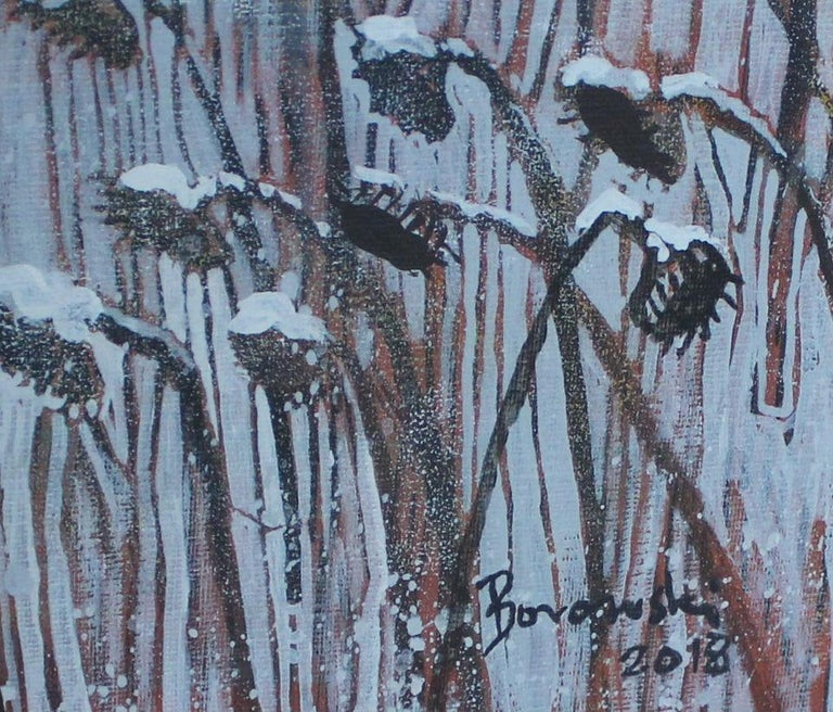 Wet snow - XXI century, Landscape, Earth and grey tones, Mixed media painting - Other Art Style Painting by Andrzej Borowski