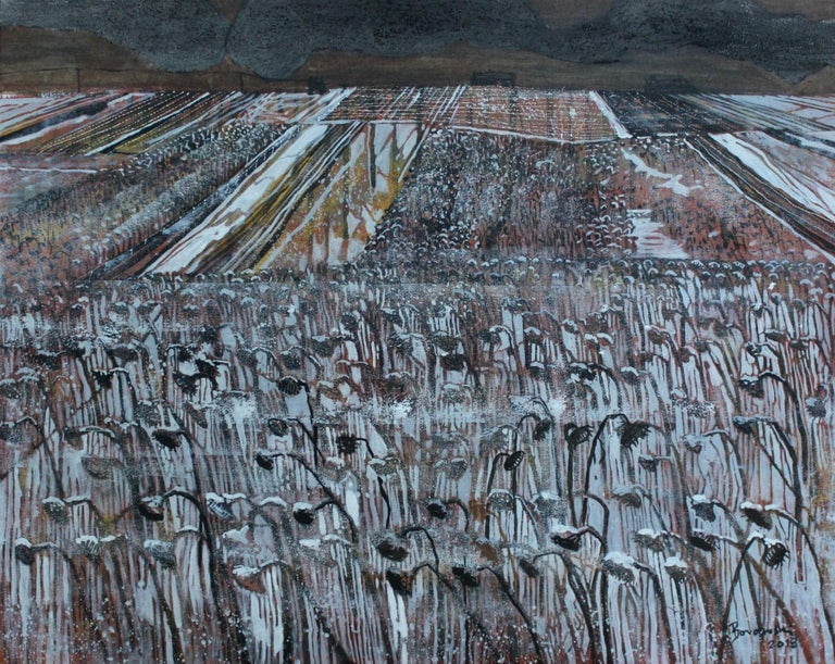 Wet snow - XXI century, Landscape, Earth and grey tones, Mixed media painting - Gray Figurative Painting by Andrzej Borowski