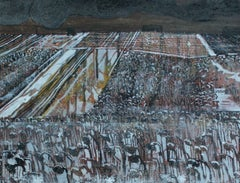 Wet snow - XXI century, Landscape, Earth and grey tones, Mixed media painting