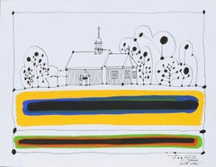 Church in Zaborek - Polish Master Of Art Abstract Landscape Colorful, Texture