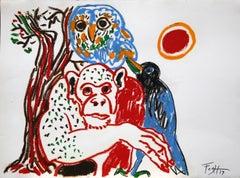 Monkey, owl and raven- Polish Master Of Art, Animals pyramid, Pastel