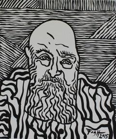 Portrait of Jerzy Panek - Polish Master Of Art, Black & white, Stripes