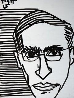 Portrait of Jozef Gielniak - Polish Master Of Art, Black & white, Stripes