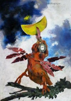 Bird with moon - Contemporary Acrylic Painting, Animal, Grotesque