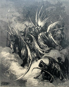 Angels - Forces - 20th century, Figurative surrealist print, Black and white