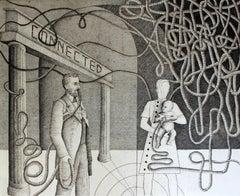 Connected - XXI century, Etching print, Figurative, Surrealist, Black & white