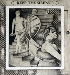 Keep the silence - Etching print, Figurative, Surrealist, Monochromatic