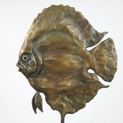 Discus Fish Female Brow - bronze sculpture ocean beach abstract Contemporary