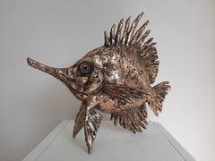 Longnose Butterfly Fish - bronze sculpture ocean sea limited edition