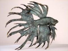 Siamese Fighter - bronze ocean sea wildlife sculpture Modern Contemporary