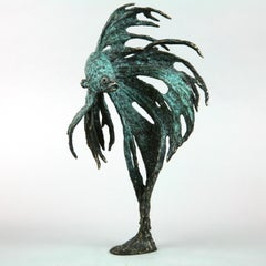 Siamese Fighter Fish II - limited edition bronze sculpture contemporary animal