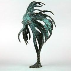 Siamese Fighter Fish II - limited edition bronze sculpture modern wildlife