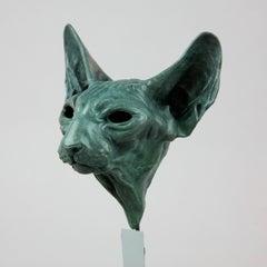 Sphynx Cat Head - bronze sculpture limited edition Modern Contemporary