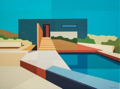 Andy Burgess, Concrete Desert House, Acrylic on Canvas over Panel