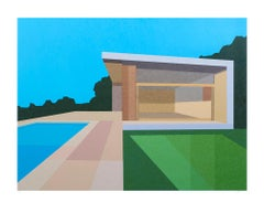 Pool House, Limited Edition Print, Mid-Century Modern, Architecture, Framed