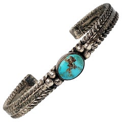 Andy Cadman Native American Sterling Silver Turquoise Cuff Bracelet