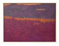 Bass Orange (landscape, abstract, vibrant red, orange & purple, trees)