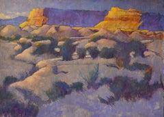 Blue Shale (desert landscape, mesas, grasses, luminous, gold, purple, green)
