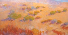 Fone Time (mountain landscape, golden grasses, pastels, orange, red, green)