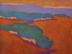 Potato (mountain landscape, vibrant colors, orange, green, blue, purple, gold)