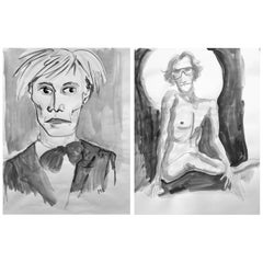 Andy Warhol, and Yves Saint Laurent, Set of Gouache on Archival Paper, 2017