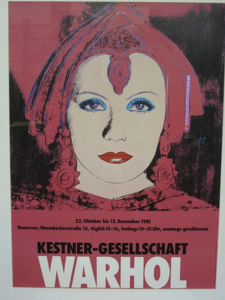A vintage Warhol Kestner-Gesellschaft retrospective German gallery show poster which ran through Oct. 23rd-Dec. 13th 1981. Printed to the lower edge of the piece is Photo / Eeva-Inkeri Courtesy Ronald Feldman Fine Arts Inc. / New York, Druck TH. -