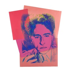""""""" Unic copy """" Jean Cocteau 1983  by Andy Warhol .printing over paper collage ."""