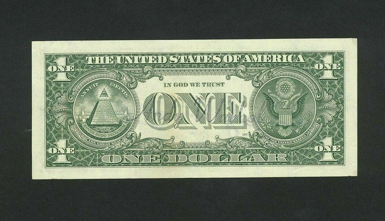 Andy Warhol 1 dollar bill circa 1985  dimension :15.5x6 cm  signed by the artist on the front Andy Warhol watermark on the back perfect condition  1,490 euros