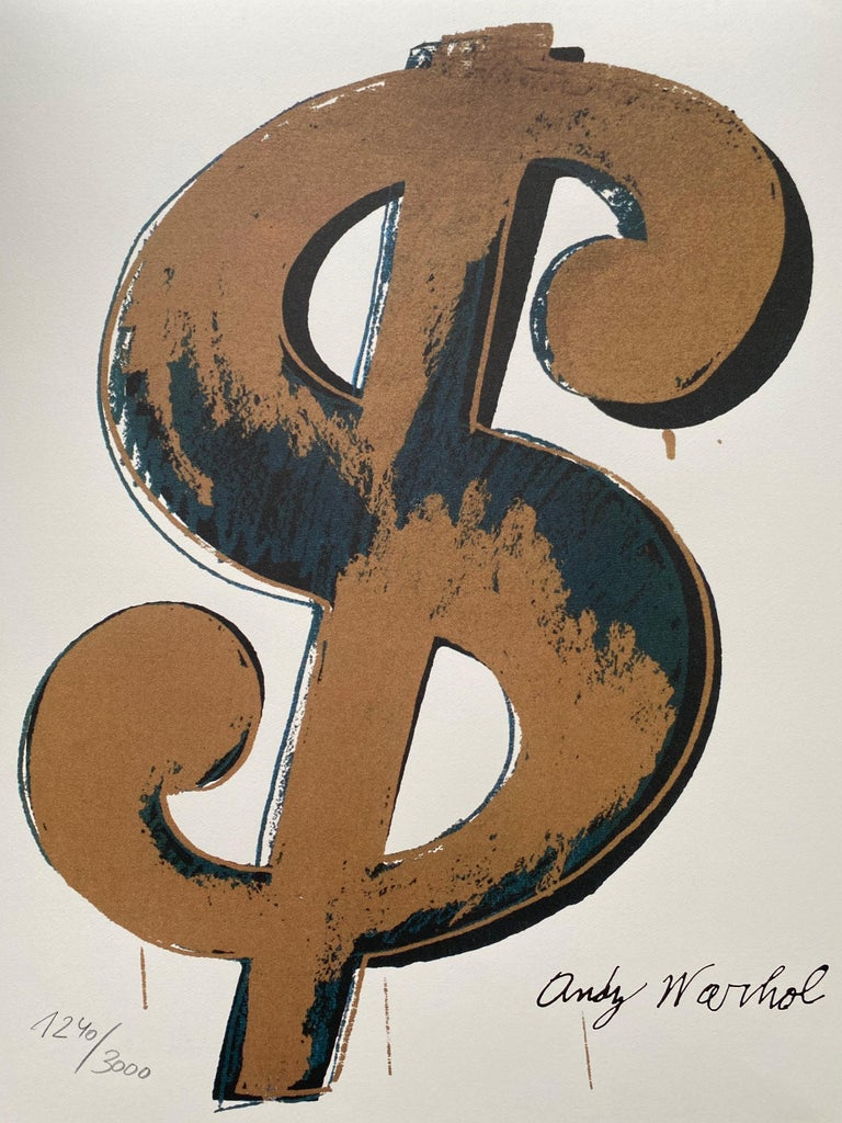 """Granolithography Andy warhol """"Dollar gold"""" - Mixed Media Art by Andy Warhol"""