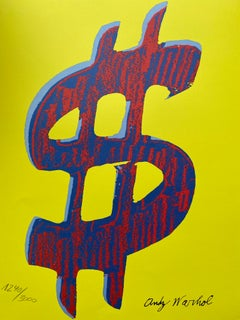 """Granolithography Andy warhol """"Red Dollar / yellow"""""""