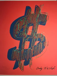 Granolithography Dollar sign in red Andy warhol 1986