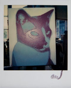 Andy Warhol, Cat Painting Detail at the Factory, Polaroid Photograph, 1976