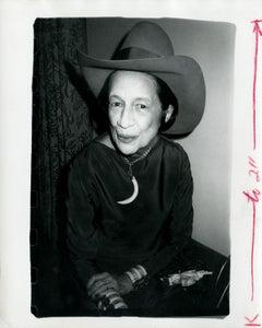 Andy Warhol, Photograph of Diana Vreeland Wearing a Cowboy Hat circa 1980