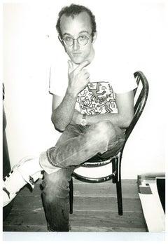 Andy Warhol, Photograph of Keith Haring at The Factory, circa 1983